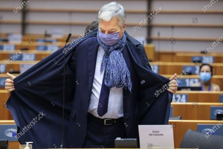 Stock Image of European Commissioner for Justice Didier Reynders attends a plenary session at the European Parliament in Brussels, Belgium, 24 November 2020.