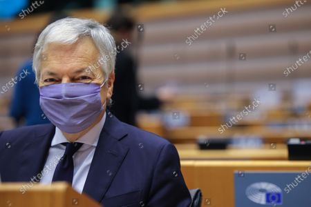 Stock Picture of European Commissioner for Justice Didier Reynders attends a plenary session at the European Parliament in Brussels, Belgium, 24 November 2020.