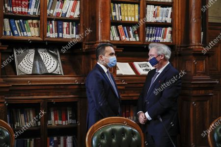 Stock Image of Italian Minister of Foreign Affairs Luigi Di Maio (L) meets his counterpart of Luxembourg, Jean Asselborn, at Biblioteca Chigiana in Chigi's Palace, Rome, Italy, 24 November 2020.