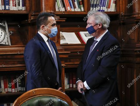 Italian Minister of Foreign Affairs Luigi Di Maio (L) meets his counterpart of Luxembourg, Jean Asselborn, at Biblioteca Chigiana in Chigi's Palace, Rome, Italy, 24 November 2020.