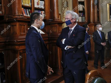 Stock Picture of Italian Minister of Foreign Affairs Luigi Di Maio (L) meets his counterpart of Luxembourg, Jean Asselborn, at Biblioteca Chigiana in Chigi's Palace, Rome, Italy, 24 November 2020.
