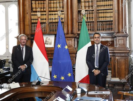 Stock Photo of Italian Minister of Foreign Affairs Luigi Di Maio (R) meets his counterpart of Luxembourg, Jean Asselborn, at Biblioteca Chigiana in Chigi's Palace, Rome, Italy, 24 November 2020.