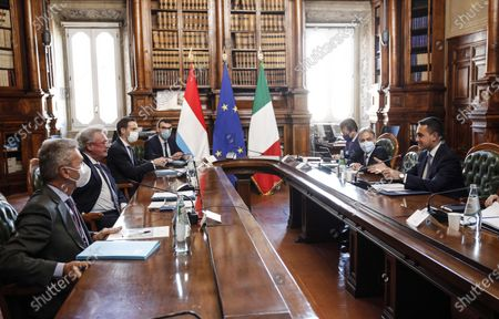 Italian Minister of Foreign Affairs Luigi Di Maio (R) meets his counterpart of Luxembourg, Jean Asselborn (2-L) at Biblioteca Chigiana in Chigi's Palace, Rome, Italy, 24 November 2020.