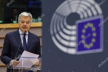 European Commissioner for Justice Didier Reynders speaks during a plenary session at the European Parliament in Brussels