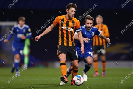 Stock Image of Richard Smallwood of Hull City and Alan Judge of Ipswich Town - Ipswich Town v Hull City, Sky Bet League One, Portman Road, Ipswich, UK - 24th November 2020