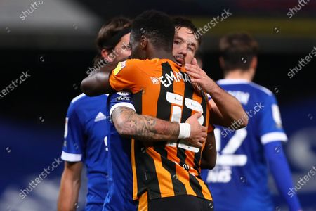 Luke Chambers of Ipswich Town and former team mate, Josh Emmanuel of Hull City - Ipswich Town v Hull City, Sky Bet League One, Portman Road, Ipswich, UK - 24th November 2020Editorial Use Only - DataCo restrictions apply