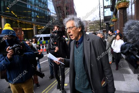 Piers Corbyn and other anti-vaccine protesters outside the Bill and Melinda Gates Foundation European HQ in Victoria Street.
