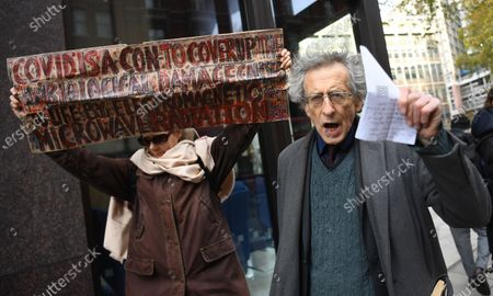Anti-vax demonstrator Piers Corbyn protests against Covid-19 vaccination, outside the headquarters of the Bill and Melinda Gates Foundation in London, Britain, 24 November 2020. Vaccine trials from a number of pharmaceutical companies are proving successful, giving hope at ending restrictions due to the ongoing coronavirus pandemic.