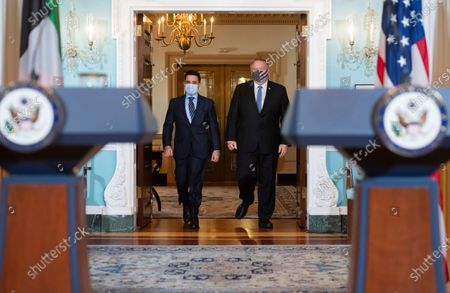 Secretary of State Mike Pompeo and Kuwaiti Foreign Minister Sheikh Ahmad Nasser Al-Mohammad Al-Sabah, walk out to speak to the media prior to meeting at the State Department, in Washington