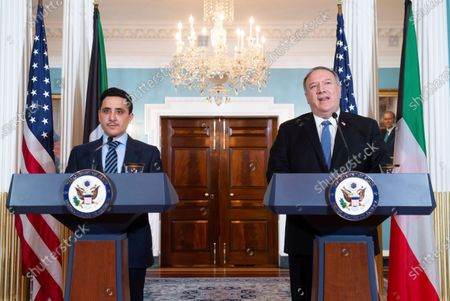 Secretary of State Mike Pompeo and Kuwaiti Foreign Minister Sheikh Ahmad Nasser Al-Mohammad Al-Sabah, speak to the media prior to meeting at the State Department, in Washington