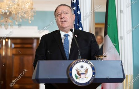 Secretary of State Mike Pompeo speaks to the media prior to meeting with Kuwaiti Foreign Minister Sheikh Ahmad Nasser Al-Mohammad Al-Sabah at the State Department, in Washington