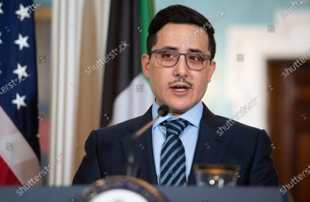 Kuwaiti Foreign Minister Sheikh Ahmad Nasser Al-Mohammad Al-Sabah, speak to the media prior to meeting with Secretary of State Mike Pompeo at the State Department, in Washington