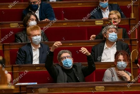 Adrien Quatennens, Jean Luc Melechon and Benedicte Taurine during the weekly session of questions to the government at the French National Assembly.