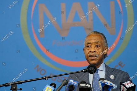 Rev. Al Sharpton speaks to reporters about the legacy of former New York City Mayor David Dinkins, during a news conference at the National Action Network headquarters in New York. Dinkins, New York City's first African-American mayor, died Monday, Nov. 23, 2020. He was 93