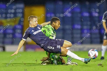 Ebou Adams (8) of Forest Green Rovers is tackled by Jason Demetriou (24) of Southend United during the EFL Sky Bet League 2 match between Southend United and Forest Green Rovers at Roots Hall, Southend