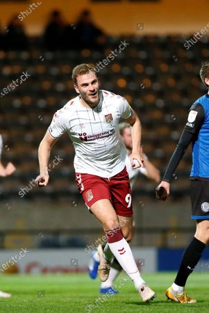 GOAL 1-0 Northampton Town Forward Harry Smith (9) celebrates his goal during the EFL Sky Bet League 1 match between Rochdale and Northampton Town at the Crown Oil Arena, Rochdale