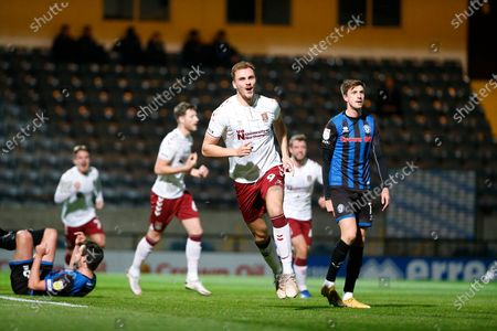 GOAL 1-0 Northampton Town Forward Harry Smith (9)  wheels away after scoring the first goal during the EFL Sky Bet League 1 match between Rochdale and Northampton Town at the Crown Oil Arena, Rochdale