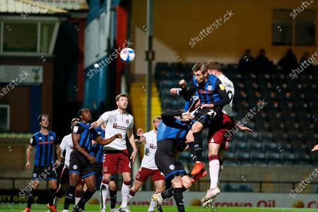 GOAL 1-0 Northampton Town Forward Harry Smith (9) rises to head the opening goal   during the EFL Sky Bet League 1 match between Rochdale and Northampton Town at the Crown Oil Arena, Rochdale