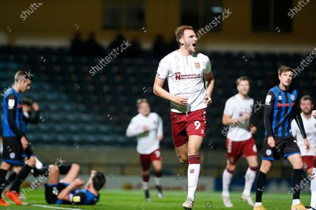GOAL 1-0 Northampton Town Forward Harry Smith (9) screams in celebration  during the EFL Sky Bet League 1 match between Rochdale and Northampton Town at the Crown Oil Arena, Rochdale
