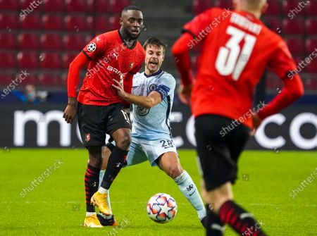 James Lea Siliki (L) of Rennes in action against Cesar Azpilicueta (C) of Chelsea during the UEFA Champions League group E soccer match between Stade Rennes and Chelsea FC in Rennes, France, 24 November 2020.