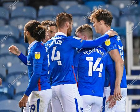 Sean Raggett of Portsmouth right is congratulated on scoring the first goal by Tom Naylor of Portsmouthi during Portsmouth vs Oxford United, Sky Bet EFL League 1 Football at Fratton Park on 24th November 2020