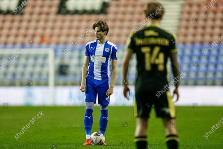 Wigan Athletic FC Defender Tom Pearce (3) prepares to take a free kick during the EFL Sky Bet League 1 match between Wigan Athletic and Bristol Rovers at the DW Stadium, Wigan