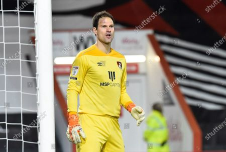 Asmir Begovic (1) of AFC Bournemouth during the EFL Sky Bet Championship match between Bournemouth and Nottingham Forest at the Vitality Stadium, Bournemouth