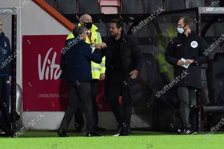 Stock Picture of Nottingham Forset manager Chris Hughton fist bumps AFC Bournemouth manager Jason Tindall before kickoff during the EFL Sky Bet Championship match between Bournemouth and Nottingham Forest at the Vitality Stadium, Bournemouth