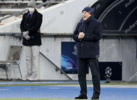 Head coach Mircea Lucescu of Dynamo Kiev reacts during the UEFA Champions League group G soccer match between Dynamo Kiev and FC Barcelona in Kiev, Ukraine, 24 November 2020.