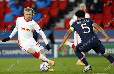 Marquinhos (R) of PSG in action against Emil Forsberg of Leipzig during the UEFA Champions League Group H soccer match between Paris Saint Germain (PSG) and RB Leipzig in Paris, France, 24 November 2020.