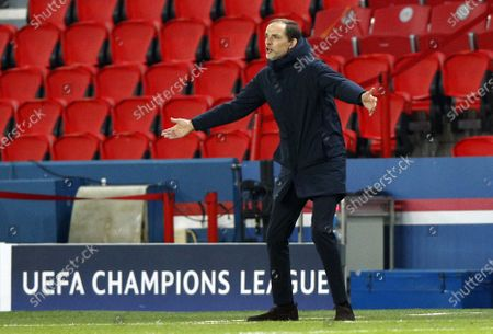Head coach Thomas Tuchel of PSG reacts during the UEFA Champions League Group H soccer match between Paris Saint Germain (PSG) and RB Leipzig in Paris, France, 24 November 2020.