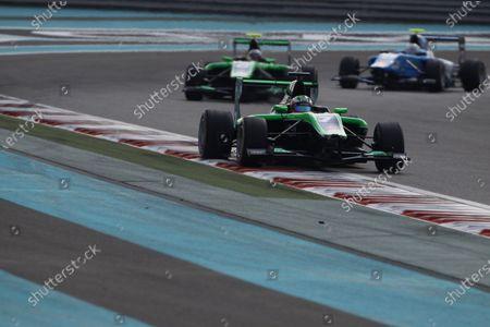 2015 GP3 Series Round 9 Yas Marina Circuit, Abu Dhabi, UAE. Sunday 29 November 2015. Seb Morris (GBR, Status Grand Prix) leads Alex Fontana (SUI, Status Grand Prix)  Photo: Sam Bloxham/GP3 Series Media Service.