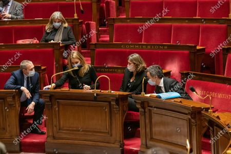 Jean-Michel Fauvergue, Alice Thourot, Yael Braun Pivet and French Interior Minister Gerald Darmanin. The national assembly votes on the global security law.