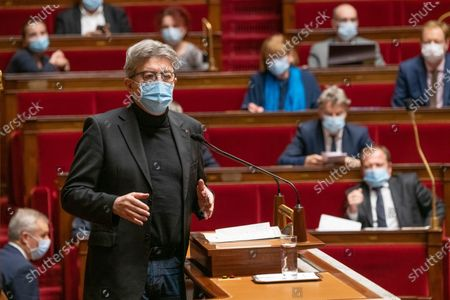 Stock Image of Jean-Luc Melenchon. The national assembly votes on the global security law.