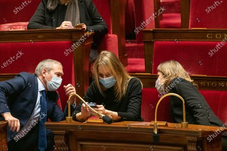 Jean-Michel Fauvergue, Alice Thourot and Yael Braun Pivet. The national assembly votes on the global security law.