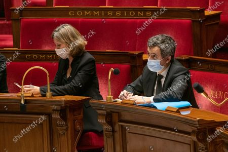 Yael Braun Pivert and French Interior Minister Gerald Darmanin.  The national assembly votes on the global security law.