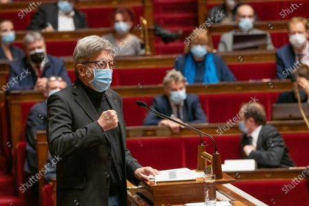 Jean-Luc Melenchon. The national assembly votes on the global security law.