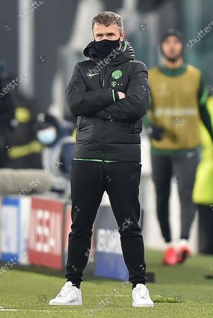 Ferencvaros' coach Serhiy Rebrov lookson during the UEFA Champions League group G soccer match Juventus FC vs Ferencvaros at the Allianz stadium in Turin, Italy, 24 November 2020.