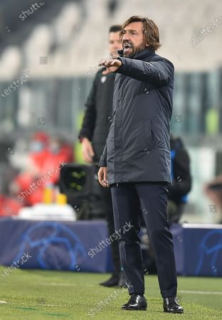 Juventus' coach Andrea Pirlo gestures during the UEFA Champions League group G soccer match Juventus FC vs Ferencvaros at the Allianz stadium in Turin, Italy, 24 November 2020.