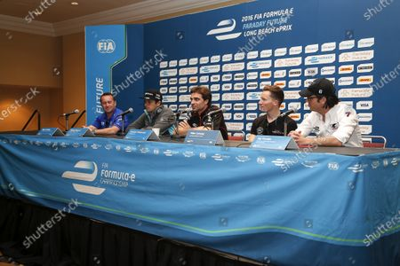 Drivers Press Conference. Jay Penske, Jerome D'Ambrosio, Mike Conway, Nelson Piquet. Long Beach ePrix, Los Angeles, California, United States of America. Friday 1 April 2016 Photo: Adam Warner /LAT.
