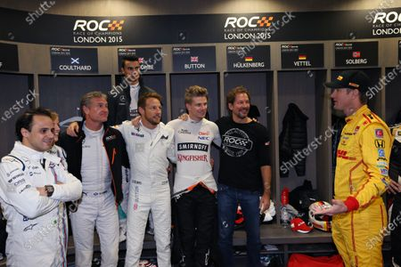 2015 Race Of Champions Olympic Stadium, London, UK Saturday 21 November 2015 Felipe Massa (BRA), David Coulthard (GBR), Jenson Button (GBR), Nico Hulkenberg (GER), Pascal Wehrlein (GER) and Ryan Hunter-Reay (USA) backstage Copyright Free FOR EDITORIAL USE ONLY. Mandatory Credit: 'IMP'