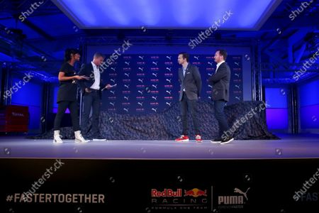 Stock Picture of 2016 Red Bull Racing Livery Launch Old Truman Brewery, London, UK Wednesday 17 February 2016 David Coulthard and Maya Jama speak with Red Bull Racing Team Principal Christian Horner and Adam Petrick, PUMA's Global Director of Brand & Marketing during the launch event for PUMA and Red Bull Racing's 2016 Livery and Teamwear at Old Truman Brewery. Photo: Copyright Free FOR EDITORIAL USE ONLY. Mandatory Credit: Red Bull Racing.