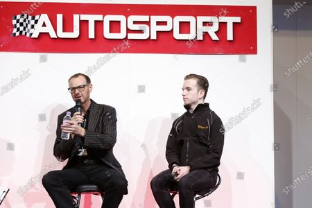 Autosport International Exhibition.  National Exhibition Centre, Birmingham, UK. Thursday 14 January 2016.  Ginetta chief Lawrence Tomlinson, with Charlie Robertson on the Autosport stage. World Copyright: Zak Mauger/LAT Photographic.