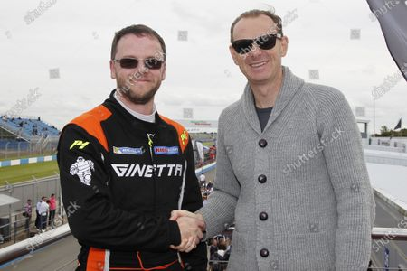 2015 Ginetta Racing Drivers Club, Donington Park, England. 12th-13th September 2015. Adrian Campbell-Smith (GBR) with Lawrence Tomlinson (GBR) Ginetta as the most successful driver in the GRDC in 2015 World Copyright: Ebrey / LAT Photographic.