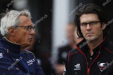 FIA Formula E Test Day, Donington Park, UK. Tuesday 25 August 2015. Jean-Paul Driot (Renault e.Dams) & Jay Penske (Dragon Racing) Photo: Sam Bloxham/FIA Formula E/LAT