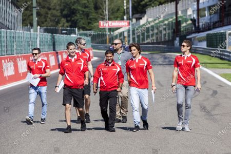 Spa-Francorchamps, Spa, Belgium. Thursday 20 August 2015. Roberto Merhi, Manor F1, walks the track with his engineers and Fabio Leimer, Reserve Driver, Manor F1. World Copyright: Zak Mauger/LAT Photographic