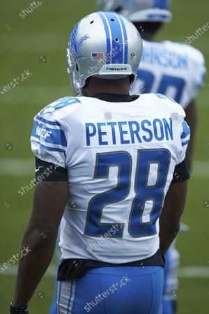 Detroit Lions running back Adrian Peterson (28) prior to an NFL football game against the Carolina Panthers, in Charlotte, N.C