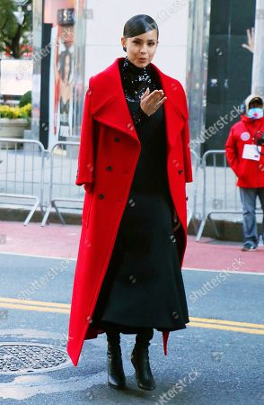 Stock Photo of Sofia Carson pre-tapes ahead of Macy's Thanksgiving Day Parade 2020 at Herald Square