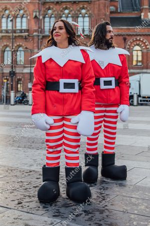Stock Image of #MerryPranksmas: Vicky Pattison and Peter Wicks spread festive cheer across the Capital dressed as Elves Behavin' Badly, little did Pete know Vicky was setting him up for the ultimate festive prank