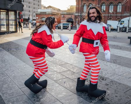 #MerryPranksmas: Vicky Pattison and Peter Wicks spread festive cheer across the Capital dressed as Elves Behavin' Badly, little did Pete know Vicky was setting him up for the ultimate festive prank